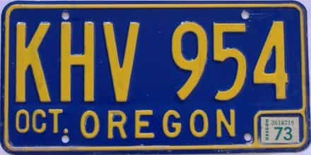 1973 Oregon (Natural Single) license plate for sale