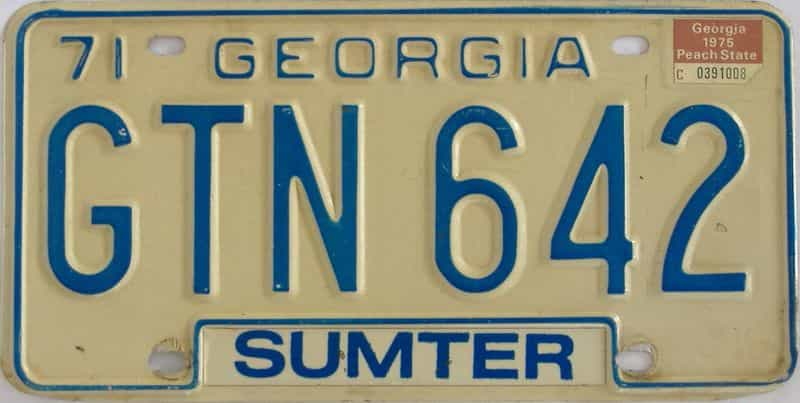 1975 GA license plate for sale