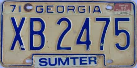 YOM 1975 Georgia YOM 1971 - 1989  (Truck) license plate for sale