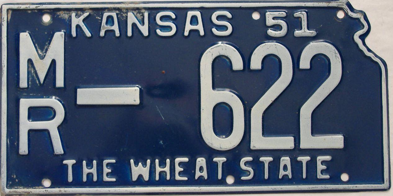 1951 Kansas license plate for sale