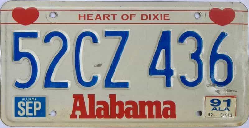 1991 Alabama license plate for sale