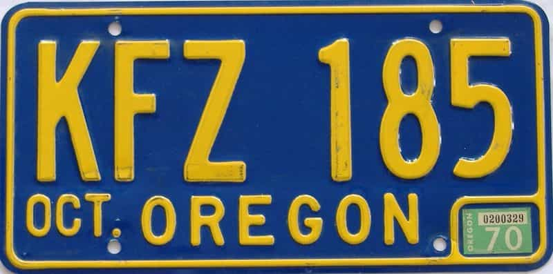 1970 OR (Natural Single) license plate for sale