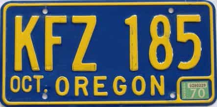 1970 Oregon (Natural Single) license plate for sale