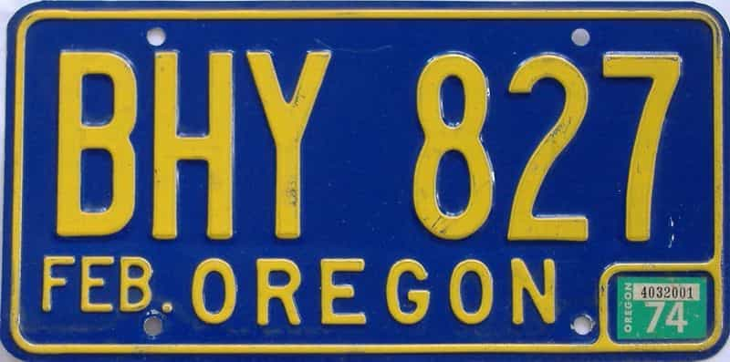 1974 Oregon  (Single) license plate for sale