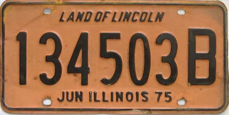 1975 Illinois  (Single) license plate for sale
