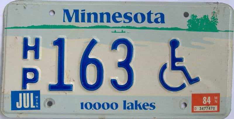 1984 MN (Single) license plate for sale