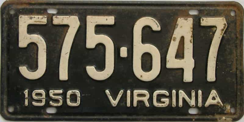 1950 Virginia (Single) license plate for sale