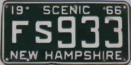 1966 New Hampshire (Single) license plate for sale