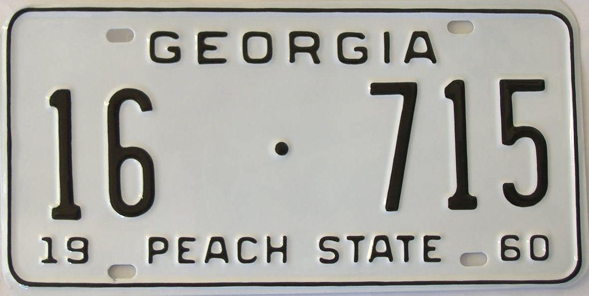 YOM RESTORED 1960 Georgia license plate for sale