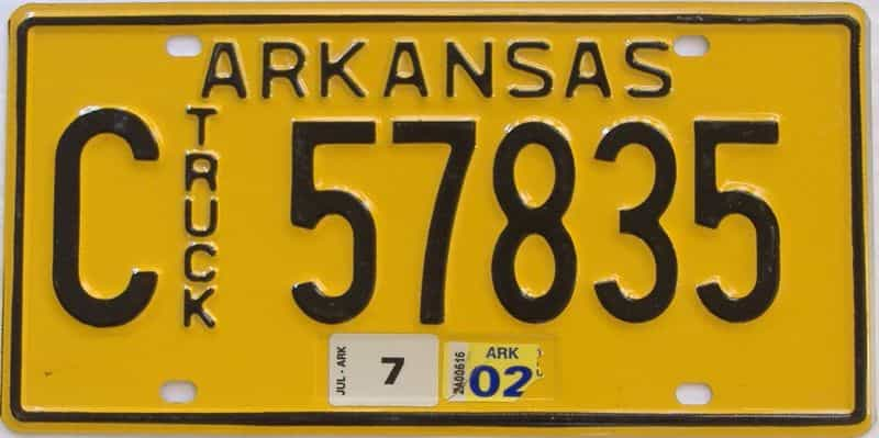 2002 AR (Truck) license plate for sale