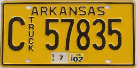 2002 Arkansas (Truck) license plate for sale