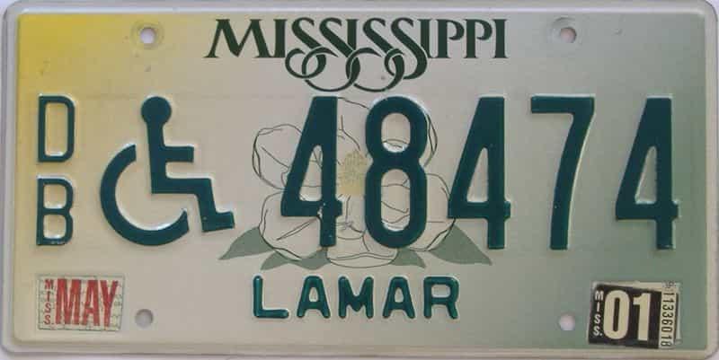 2001 Mississippi  (Handicap) license plate for sale