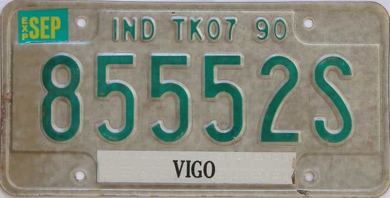 1990 Indiana  (Non Pass) license plate for sale