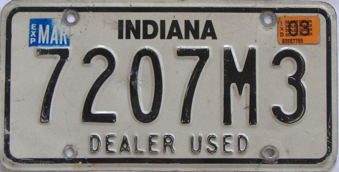 2003 Indiana (Dealer) license plate for sale