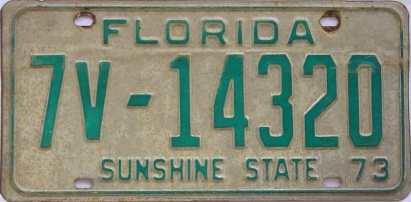 1973 Florida (Non Pass) license plate for sale