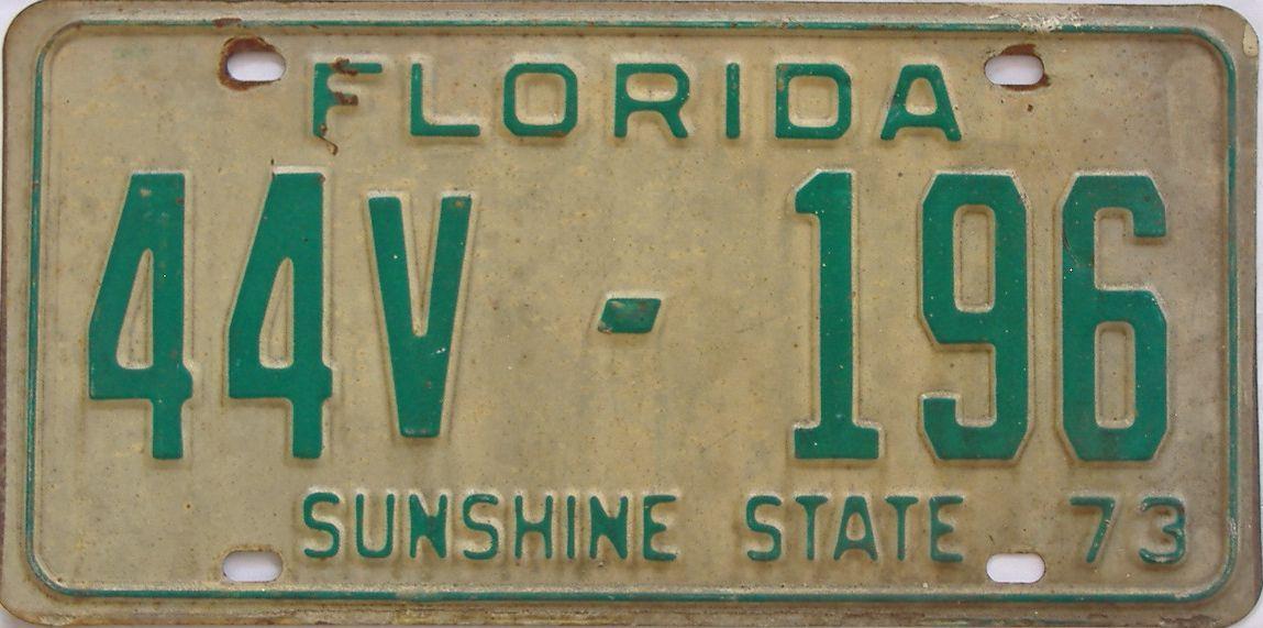 1973 Florida (Non Pass) license plate for sale
