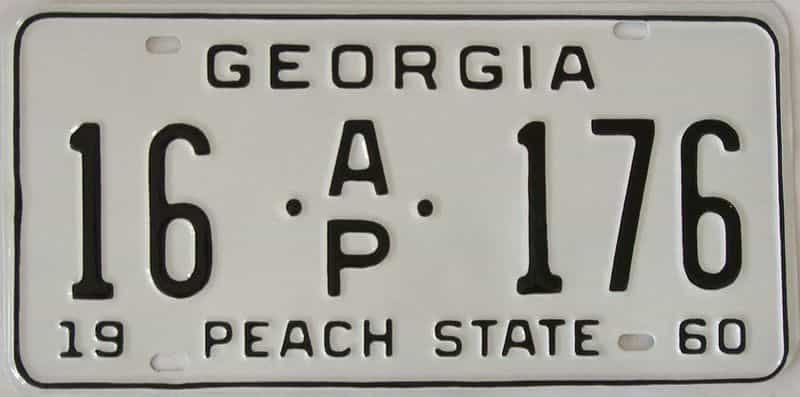 YOM RESTORED 1960 GA (Truck) license plate for sale
