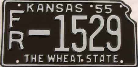 RESTORED 1955 Kansas license plate for sale