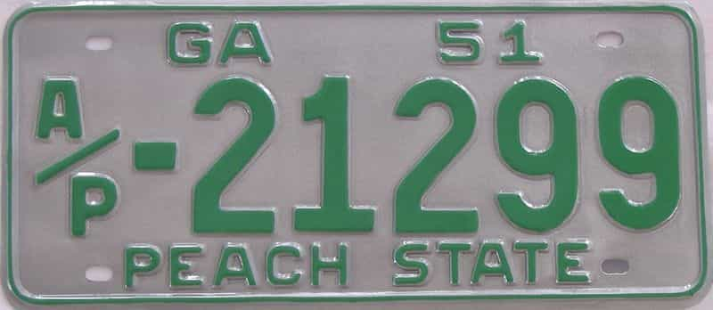 YOM RESTORED 1951 GA (Truck) license plate for sale