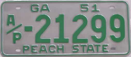 YOM RESTORED 1951 Georgia (Truck) license plate for sale