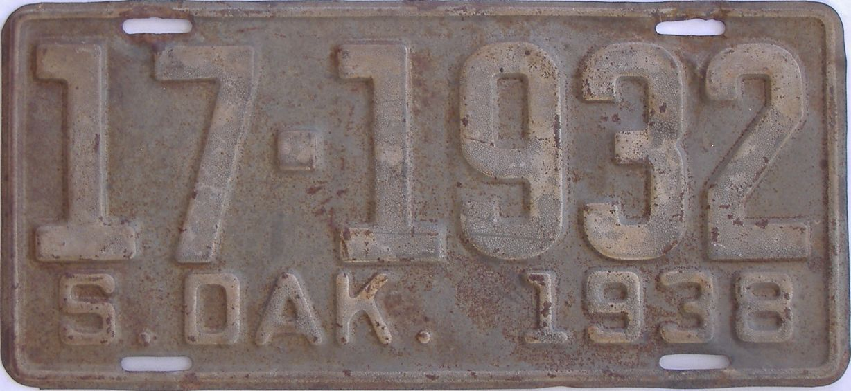 1938 South Dakota (Single) license plate for sale