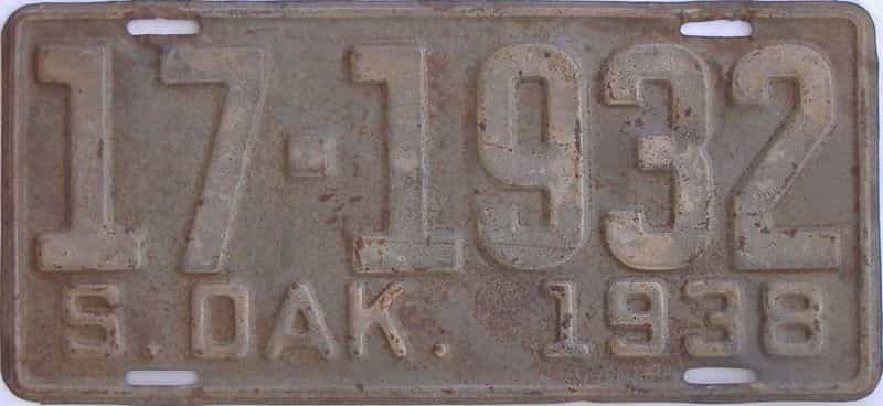 1938 South Dakota (Single) license plate for sale