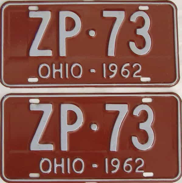 1962 Ohio (Pair) license plate for sale