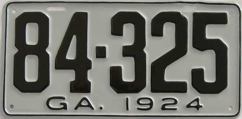 YOM RESTORED 1924 GA license plate for sale
