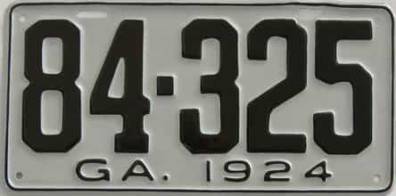 YOM RESTORED 1924 Georgia license plate for sale