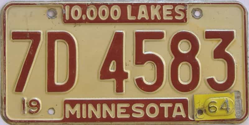 1964 MN (Single) license plate for sale