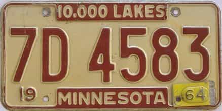 1964 Minnesota (Single) license plate for sale