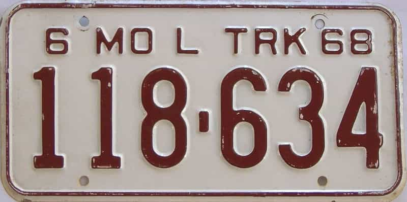 1968 Missouri (Truck) license plate for sale