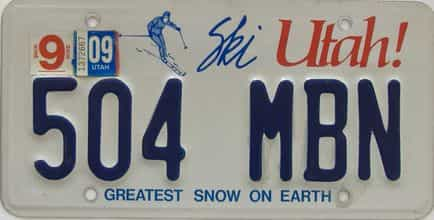 2009 Utah (Single) license plate for sale