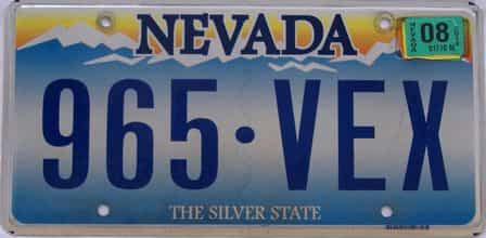 2008 Nevada (Single) license plate for sale