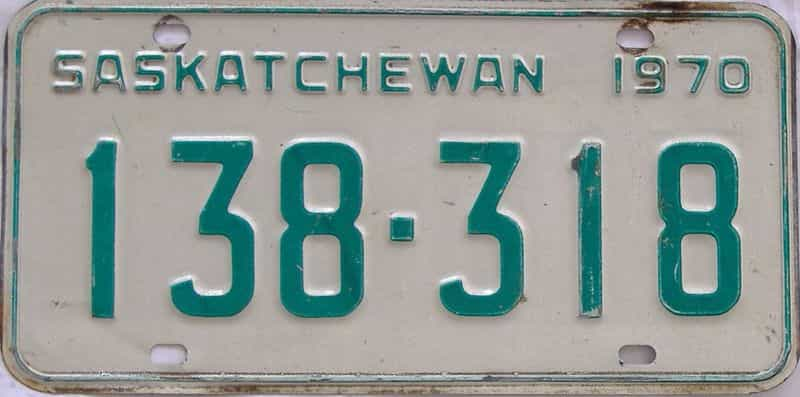 1970 Saskatchewan (Single) license plate for sale