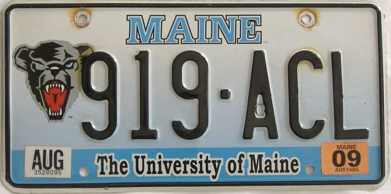 2009 Maine (Single) license plate for sale