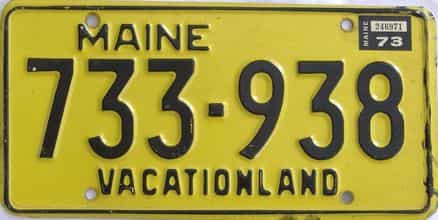 1973 Maine (Single) license plate for sale