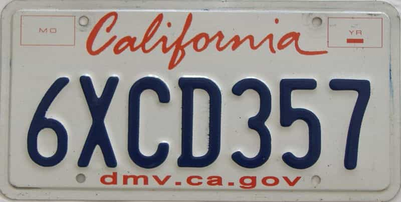 California  (Single) license plate for sale