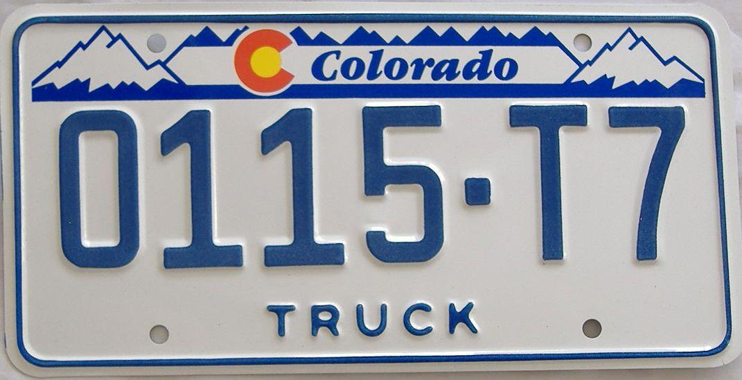 Colorado (Truck) license plate for sale