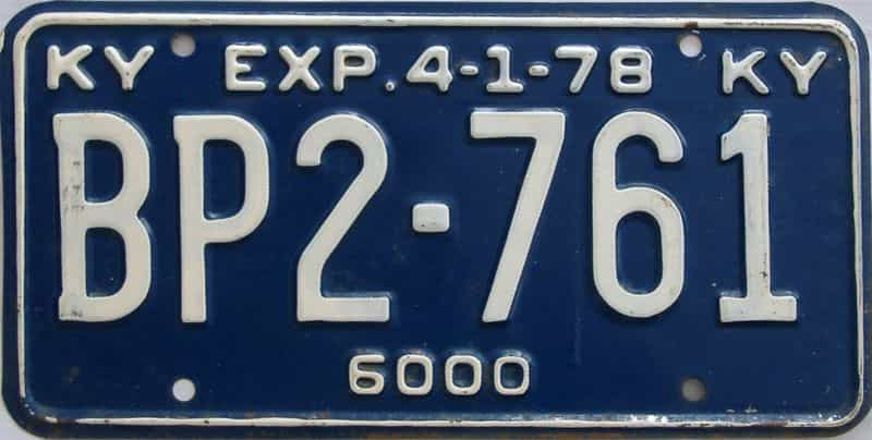 1978 Kentucky license plate for sale