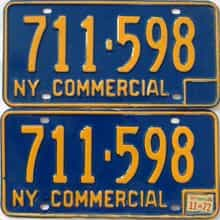 1972 New York  (Non Passenger) license plate for sale