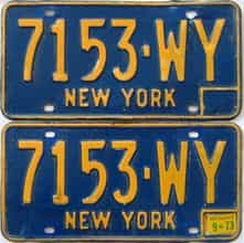 1973 New York  (Pair) license plate for sale