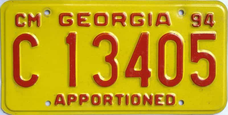 1994 GA license plate for sale