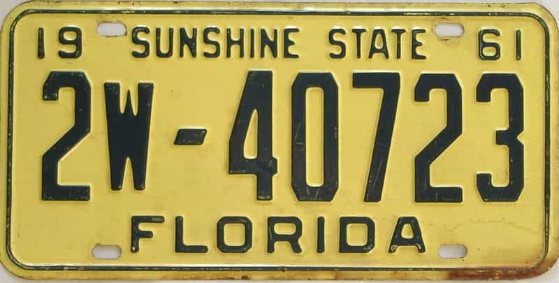 1961 Florida license plate for sale