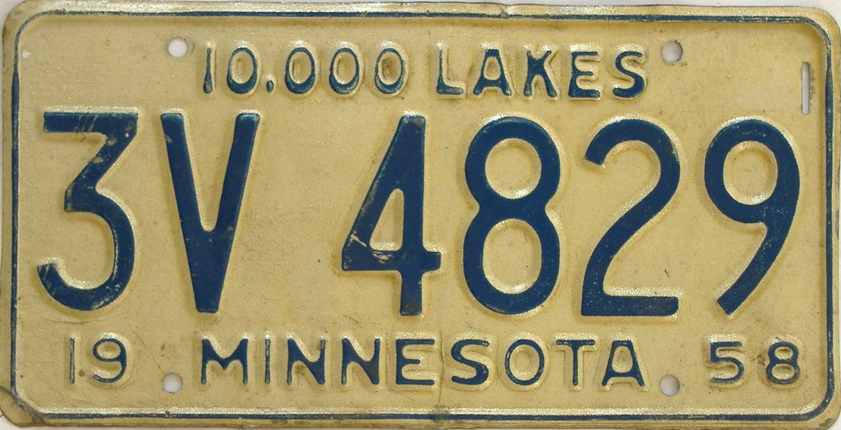 1958 Minnesota (Single) license plate for sale