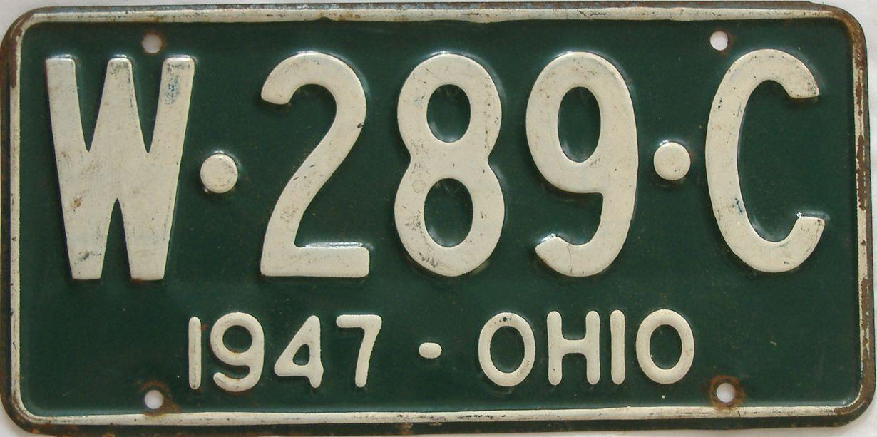 1947 Ohio (Single) license plate for sale