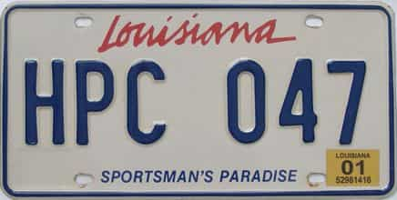 2001 Louisiana license plate for sale