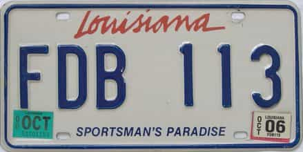 2006 Louisiana license plate for sale
