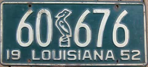1952 Louisiana license plate for sale
