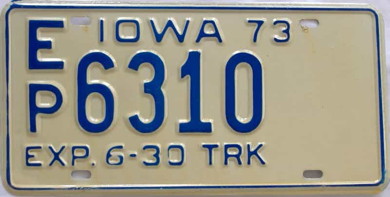 1973 Iowa  (Truck) license plate for sale
